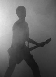 Gitarrist im Nebel