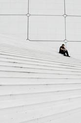 große weiße Treppen, mit mir