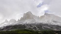 Peaks in clouds, Torres del Paine, Chile
