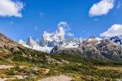 Peaks of Fitz Roy in the valley, El Chalten, Argentina