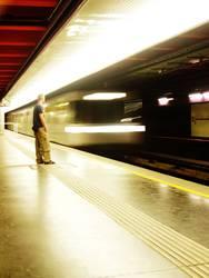 Mann und U-Bahn