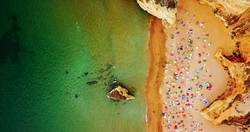 Aerial View From Flying Drone Of Lagos Beach In Portugal