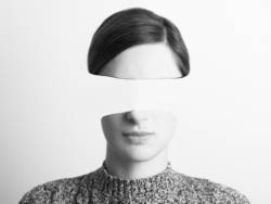Black and White Woman Portrait Of Identity Theft Concept