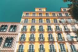 Colorful Apartment Building Facade In Lisbon, Portugal