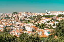 Aerial View Of Lisbon City Rooftops In Portugal