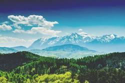 Karpatenberge Landschaft mit blauem Himmel im Sommer