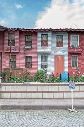 red white rowhouses