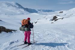 Ferne Ziele, Abenteurerin schaut in weite Bergwelt