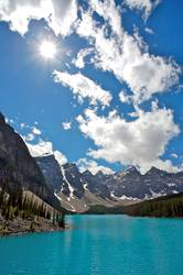Summer day at beautiful Moraine Lake