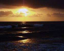 Sonne in Richtung Horizont