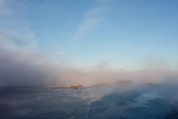 Morgennebel über dem Drammenfjord