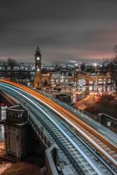 Hamburg Landungsbrücken U-Bahn Lichtspuren