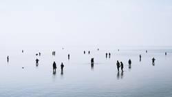Silhouetten im Niedrigwasser