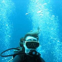 Diver with Bubbles II