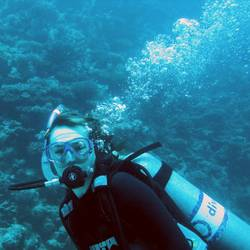 Diver with Bubbles