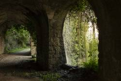 old road with tunnel on the shores of Lake Garda