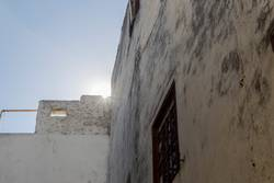 residential buildings in the old city of Tangier in Morocco