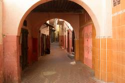 Archway in an alley in the old city of Tangier in Morocco