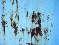 Background, verrostetes Stahlblech, hellblau