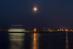 Vollmond, Boot, Hafen, Lichter, Nacht