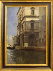 Gustav Bauernfeind: Canal Vena mit Palazzo, Ölstudie