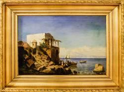 Gustav Bauernfeind: Südliche Landschaft, 1881, Öl auf Leinwand