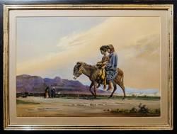 Gustav Bauernfeind: Im Jordantal bei Jericho, Aquarell