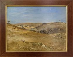Gustav Bauernfeind: Blick auf Jerusalem, Ölstudie