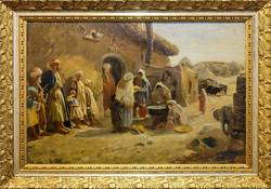 Gustav Bauernfeind: Chan in der Ebene bei Jaffa, Ölstudie