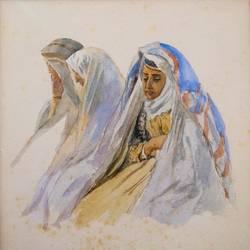 Gustav Bauernfeind: Drei Beduinenfrauen, Aquarell