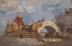 Gustav Bauernfeind: Ponte di Vigo in Chioggia, Ölstudie I