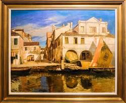 Gustav Bauernfeind: Kanalszene in Chioggia, Öl, um 1877