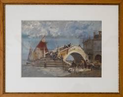 Gustav Bauernfeind: Ponte di Vigo in Chioggia, Ölstudie III