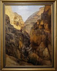 Gustav Bauernfeind: Wadi Kelt (Bach Krith), Ölgemälde