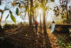 Mann fährt eine Schubkarre voll Laub auf den Kompost im Herbst