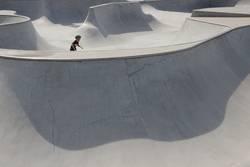 Detail Skaterbahn mit Skater