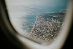 Aerial of costa del sol sea shore viewed from a plane.