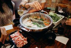 Korean hot pot dish meal.
