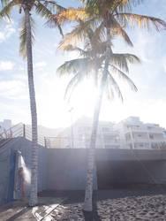 Stranddusche am Morgen