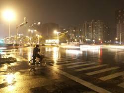chinesische Strasse im Regen