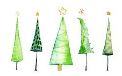 Weihnachtsbäume, Aquarell auf Papier