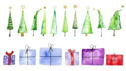 Weihnachtsbäume und Geschenke, Aquarell auf Papier