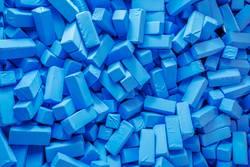 Blaue Schaumstoffquader