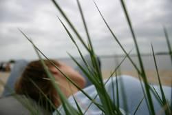 Am Strand liegen...