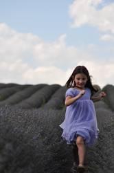 Little girl in a lavander field