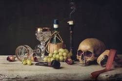 Vanitas witch Skull; Pipe, wine glass, wine and grape