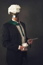Mann mit Rasierpinsel als Kopf