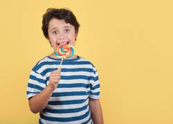 funny child with lollipop