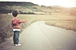 child on the road