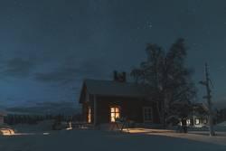 Kleines Haus im Wintermärchenland